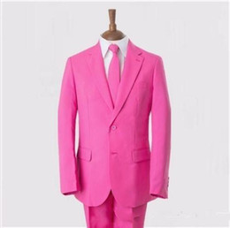 Wholesale Mens Wedding Suits Pink - 2016 Custom Made Pink Groom Tuxedos Two Buttons Mens Wedding Suits Free Shipping Prom Party Suit (Jacket+Pants+Tie)