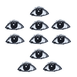 Wholesale eye jeans - 10PCS Black Eyes Embroidery Patches for Clothing Bags Iron on Transfer Applique Patch for Garment Jeans DIY Sew on Embroidery Badge