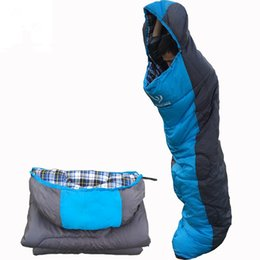 Wholesale Cotton Flannel Sleeping Bags - Wholesale-Outdoor Travel Camping Hiking Adult Thickening Flannel Envelopes Type Winter Hollow Cotton Hooded Sleeping Bags