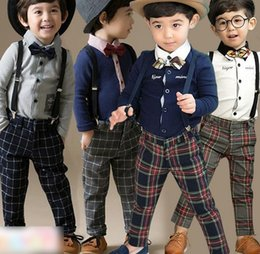 Wholesale Boys Attire - Boys Clothes Kids Outfits 2015 Spring Page Boy Sets Formal Attire Bow Tie Long Sleeve Shirt Shirts Plaid Overalls Brace Pants I2791