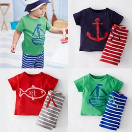 Wholesale baby girl anchor clothing - Baby Boys Girls Clothing Sets Anchors Printing T shirt Stripe Pants Sets Kids Short Sleeved Cartoon Suit 3 Colors free shipping in stock
