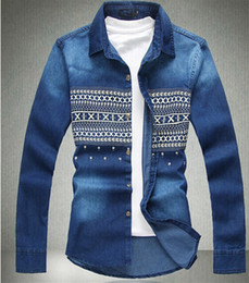 Wholesale Mens Sleeve Denim Shirt - New Mens Spring Floral Denim Shirts Long Sleeve Plus Size M-6XL Cotton Casual Men's Jeans Shirts For Big And Tall Wholesale