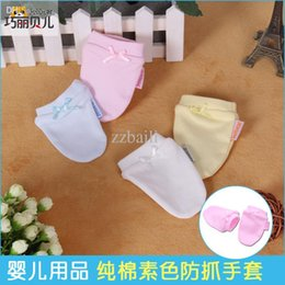 Wholesale Baby White Cotton Gloves - Baby mittens Newborn scratch-proof face gloves cotton universal gloves girls boys baby solid color gloves