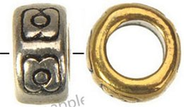 Mic rondas de prata on-line-MIC Pandora DIY Grande Buraco Beads Wholesales Europeus Pulseiras Colares Rodada Flor de Prata Banhado Descobertas Jóias artesanato 7 * 3mm 500 pcs