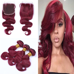 Wholesale Machining Parts Products - Hot Product #99J Wine Red Colored Hair Extensions With Top Closure 4x4 Body Wave Hair 3 Bundles With Lace Closure Free Part