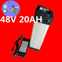 Wholesale Battery Electric Bike 48v - 48v lithium ion battery silver fish case electric bike battery 48v 20ah ebike li-ion battery with 2a charger