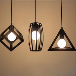 Wholesale Cage Black Metal Pendant Light - Vintage pendant lights LED lamp metal cube cage lampshade lighting hanging light fixture with LED G80 bulb