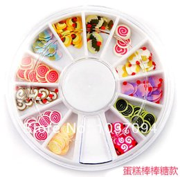 Wholesale Nail 3d Design Cake - 1 Box Cake Lollipop Clay Decoration With 3D Design Nail Tips Nail Art Clay UV Gel Nail