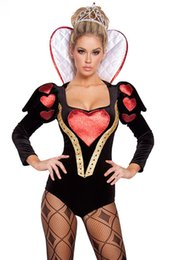 Wholesale Deluxe Sexy Costume For Halloween - Sexy Deluxe Fantastic Black Red Queen of Heart Costumes, Adult Cosplay Halloween Party Costume Bodysuit For Women Free Shipping D8959