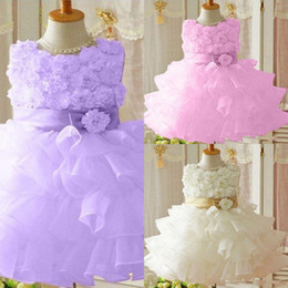 Wholesale Mini Rhinestone Applique Dress - Cute Organza Flower Girl Dress Crew Hand Made Flowers Tiered Layered Short Flower Girl Dress Princess Zipper Back Purple Pageant Ball Gown