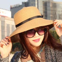 Wholesale Dayan Mao - Wholesale-Sun Hats 2015 New Summer Style Korean version of the collapsible straw hat vacation hat Ms. Dayan Mao