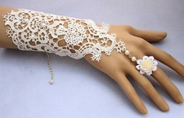 Wholesale Cheap Black Elbow Gloves - 2016 White Black Cheap Short Below Elbow Length Gloves For bride Fingerless Lace Pearl Wedding Accessories Bridal Glove With Ring Bracelet