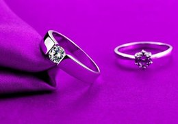 Wholesale Valentines Day Ring Sales - hot sale couple rings Valentine's Day diamond silver rings Wedding Engagement Bands Love Rings Valentine Ring