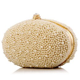 Wholesale White Pearl Clutch Bag - Wholesale-2015 New Fashion Luxury Women's Pearl Beaded Evening Clutch Ladies High Quality Dinner Party Hand Bag XA59H