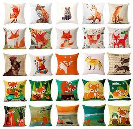 Wholesale Christmas Decorative Throw Pillows - Christmas Nordic Pillowcase lovely animal fox Decorative Cushion Cover Cotton Linen Throw Pillow cover Cojines almofadas