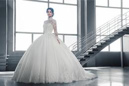 Wholesale Victorian High Collar Wedding Dress - Arabic Lace Long Sleeves Ball Gown Victorian Wedding Dresses High Neck Muslim Birdal Gowns Middle East Dubai Weddig Dress Vestidos de Novia
