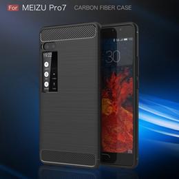2019 cas meizu Coque en fibre de carbone pour Meizu Meilan 5S Note 5 E2 Note 6 Pro 7 Plus Texture Silicone Brossé Couverture Arrière en Caoutchouc Doux Slim Armour Rugged Skin cas meizu pas cher