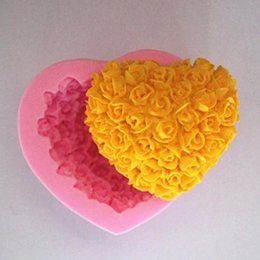 Wholesale Soap Molds Heart Shape - 3D Silicone Rose flower Cake mold heart shape chocolate candy Molds Soap Ice rose cake mold for valentine's day gift