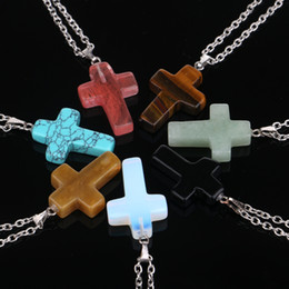 gemstone crosses wholesale Promo Codes - Daily Deals Fashion Stainless Steel Chain Quartz Chakra Natural Stone Gemstone Rock Crystal Cross Charm statement Pendant Necklace For Women