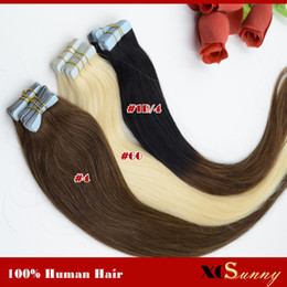 Wholesale Cheap Tape Hair Extensions - XCSUNNY Brazilian Remy Human Hair Tape Extensions Virgin Hair Cheap Tape Hair Extensions Free Shipping 18