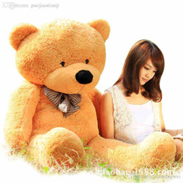 Wholesale Giant Teddy Free - Wholesale-200CM Three Colors Giant Teddy Bear Skin Coat Lowest Price Plush Toys Free Shipping Wholesale Factory Gifts Stuffed Toys P086