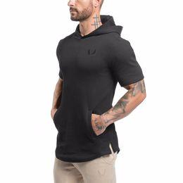 Wholesale Hoody Tops - Wholesale- Men Short Sleeve Hoodies Sweatshirt Gyms Bodybuilding Tops Casual Hoody Jacket Outwear Sporting Cotton Hoodies