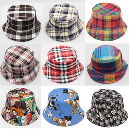 Wholesale Travel Beach Hats - New Children grid hats summer sun hats baby Beach hat kids fisherman caps Travel be prepared 12 color can choose