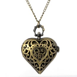 Wholesale Heart Shaped Watch Necklace - Cindiry Retro Bronze Hollow Quartz Heart-Shaped Pocket Watch Clock Necklace Pendant Chain Womens Gift For Anniversary Day
