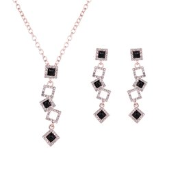 Wholesale Rose Gold Costume Jewelry Sets - Women Girl Classic Splice Pedant Necklace + Drop Earrings Set Rose Gold Plated Enamel Wedding Party Costume Jewelry Sets