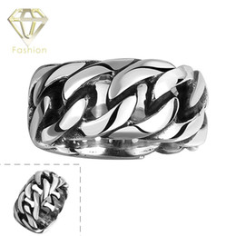 Wholesale Stainless Biker Rings For Men - Mens Rings Top Brand 316L Stainless Steel Chain Rings Punk Style Biker Jewelry Vintage Braided Ring Jewelry for Men