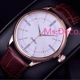 Wholesale Elegant Leather Watch - Mens Leather Elegant Self Wind Automatic Sapphire Watches Man Rose Gold Luxury Mechanical Winding Watch Brand Hours for Men