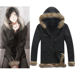 Wholesale Izaya Cosplay Coat - Durarara Izaya Orihara Cosplay Costume Black Coat FANCY Jacket Sweatshirts