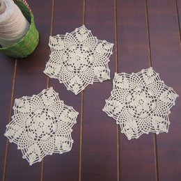 Wholesale Vintage Crochet Table Mats - Wholesale- yazi 4PCS Coasters Handmade Cotton Hollow Floral Doily Cup Pads Vintage Hand Crochet Table Mat Doilies Crochet Placemat