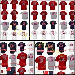 Wholesale Pedroia Jersey - Men's #16 Andrew Benintendi 34 David Ortiz jersey Cheap 50 Mookie Betts 15 Dustin Pedroia 9 Ted Williams Baseball Jerseys