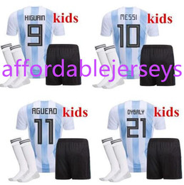 Wholesale Cheap Argentina Soccer Jersey - New Top Quality 2018 World Cup MESSI DYBALA Argentina Kids soccer jersey With socks Maradona Cheap Argentine ICARDI football kits 2017 18