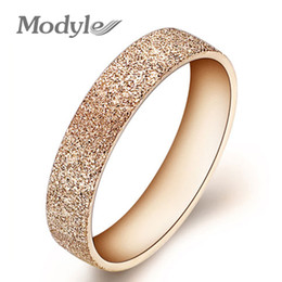 Wholesale Polish Rose Ring - Wholesale-Fashion Jewelry High Quality 316L Stainless Steel Rings Rose Golden Dull Polish Single Ring Wedding Ring Engagement Ring