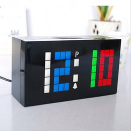 Wholesale Diy Digital Alarm Clock - Novelty Colorful Color Custom Personalized LED Electronic Alarm Digital Clock DIY Wall Clock and Desktop Clocks For Home Decor Gift