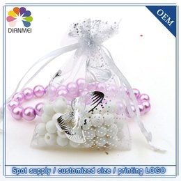 Wholesale Candy Bags Tulle - Wholesale 100pcs lot 7x9cm White Butterfly Christmas Wedding Organza Voile Gift Packaging Bags & Pouches Tulle Candy Packages