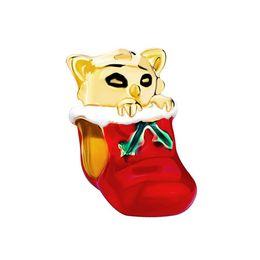 Canada Émail rouge et vert à la main avec placage d'or chat dans le bracelet de Noël Offre