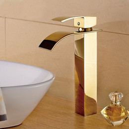 Wholesale Gold Waterfall Mixer Taps - Solid Brass Chrome Bathroom Faucet Waterfall Faucet Water Taps Luxury Gold Faucet Bathroom Hot&Cold Basin Mixer Taps