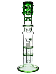 "Wholesale Free Guard - Grace Glass bongs honey combs ""Bling Bling Betty"" double honeycomb Percolator splash guard water pipe 18mm bowl blue green 13"""