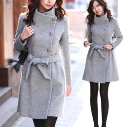 Wholesale Collar Belted Coat - New Style Womens Winter Warm Woolen Trench Parka Wool Coat Slim Tight fitted Jacket Wool Blend Long Coat with Belt