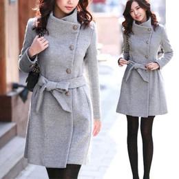 Wholesale Coat Womens Woolen - New Style Womens Winter Warm Woolen Trench Parka Wool Coat Slim Tight fitted Jacket Wool Blend Long Coat with Belt
