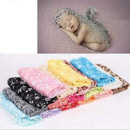 Wholesale Lace Baby Blanket - 140*40cm Baby Photography Props Infant Wraps Blankets Newborn Photography Wraps Lace Flowers Baby Swaddling 17 color KKA3244