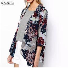 Wholesale Chiffon Shawl Cardigan - Wholesale- ZANZEA 2017 Fashion Womens Boho Kimono Cardigan Shawl Chiffon Flower Printed Blouses Ladies Tops 3 4 Sleeve Cover Ups S-6XL