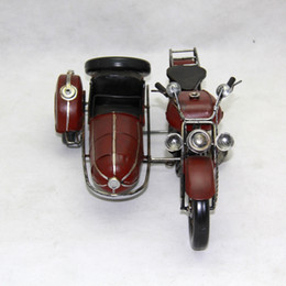 Wholesale Motorcycle Motor Toys - Tinplate Military Motorcycle Model, Hand-made Motor Tricycle Toy, Furniture Decoration, Work of Art , Personalized for Gift, Collecting