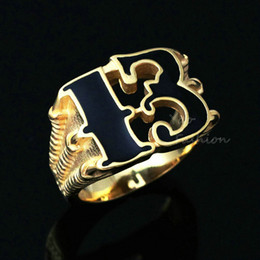 Wholesale 18k Gold Dragon Ring - Men's 18K Gold Plated Lucky No. 13 Dragon Claw Biker Ring Black Enamel Number 13 316L Stainless Steel Magic Band