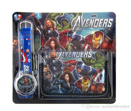 Wholesale Children Watches Wallet - The Avengers Bat Quartz Watches and Wallet 2015 new Children Avengers: Age of Ultron Watches and Wallet B001