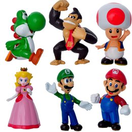 Wholesale Mario Action - Super Mario Figure PVC Super Mario Bros FIGURE 6pcs (1set=6pcs) High Quality Action Figures toys and gifts