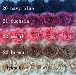 Wholesale Hat Shoes - Sale BY YARDS ! 24 COLORS hair band accessories! 65MM Shabby flash chiffon roses sunflowers  brooch  shoes flower   hat flower  30YARDS